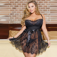 Women Black Hot Sexy Lingerie Plus Size 5XL Erotic Lingerie Nightdress Babydolls Baby Doll Sexy Costumes