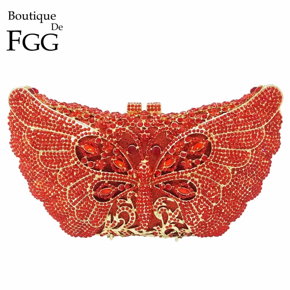 ФОТО Dazzling Animal Butterfly Designs Red Women Crystal Evening Bag Metal Bridal Wedding Party Chain Shoulder Handbag Clutch Purse