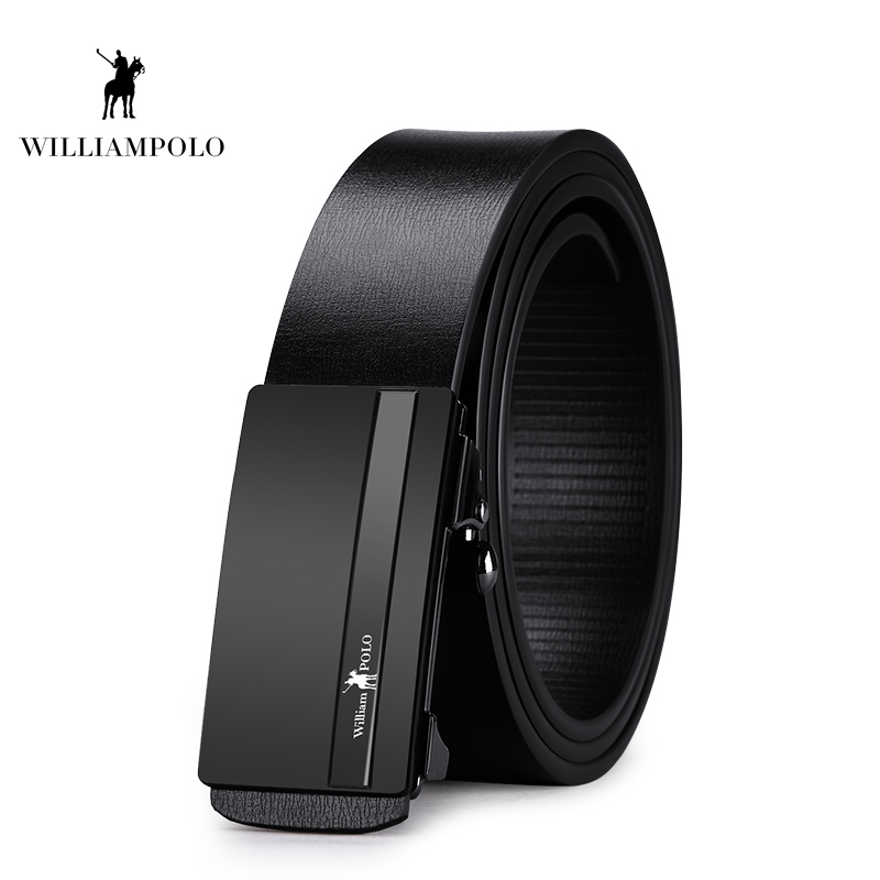 Williampolo Top Brand Men Real Cowskin Belt Automatic Buckle Large Genuine Leather Luxury Designer Belts PL18342P