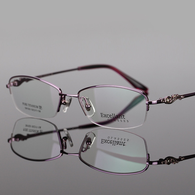 New Pattern Pure Titanium Fund Spectacle Frame Half Frame Myopia Picture Frame Woman Light Presbyopic Spectacle Frame D 81523