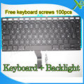 "Brand New NO Norway Norwegian keyboard+Backlight Backlit+100pcs keyboard screws For MacBook Air 13.3"" A1369 A1466 2010-2015Years"