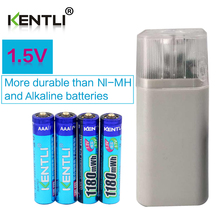 Kentli 4 шт. 1.5 В 1180mWh AAA аккумуляторная литий-полимерный аккумулятор + 4 слота АА ААА литиевая батарея зарядное устройство с фонариком