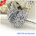 Fits Pandora Bracelet &Necklace Angelic Feathers Silver Beads Original 925 Sterling Silver Charms DIY Wholesale 257