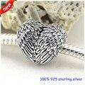 Se adapta a pandora pulsera y collar angelic plumas bolas de plata original de 925 plata esterlina encantos diy al por mayor 257