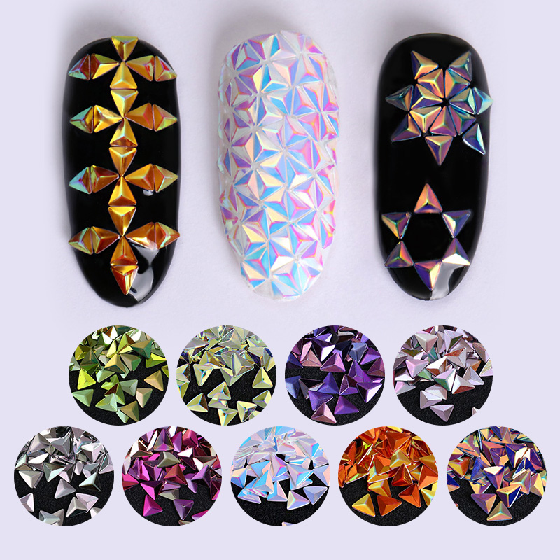 Iridescent Chameleon Nail Sequins 3D Holographic Laser Diamos