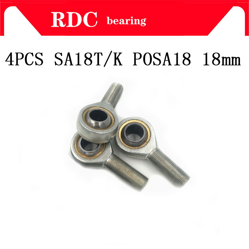Free Shipping 4pcs SA18T/K POSA18 18mm High Quality Male Right Hand Thread Rod End Joint Bearing Metric Thread M18x1.5mm