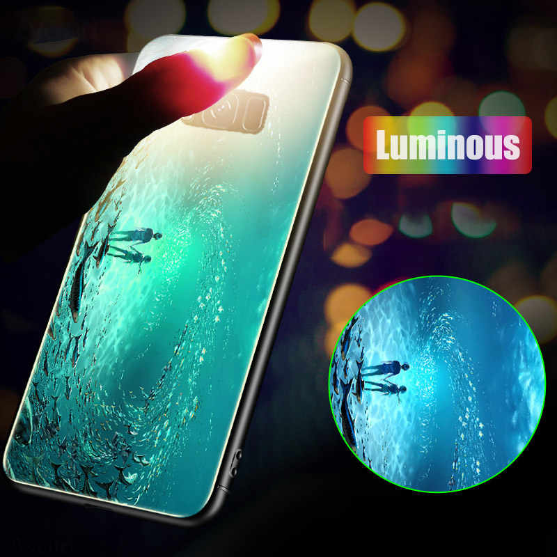 BFOLLOW Luminous Case for Samsung Galaxy S9 / S9 Plus / S8 / S8 Plus / Note 8 9 Tempered Glass Back Hard Cover