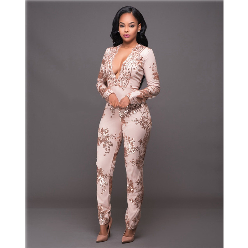 Sequin Jumpsuit Women Deep V neck Long Sleeve Bodycon Jumpsuits Sexy mesh Patchwork Rompers ladies Glitter Club Party Overalls in Jumpsuits from Women 39 s Clothing