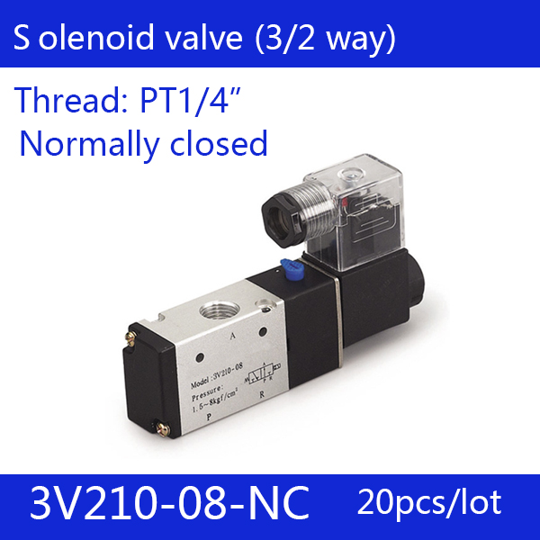 20PCS Free shipping good quality 3 port 2 position Solenoid Valve 3V210-08-NC normally closed,have DC24v,DC12V,AC110V,AC220V 20pcs free shipping pneumatic valve solenoid valve 3v310 10 nc normally closed dc12v 24v ac220v 3 8 3 port 2 position 3 2 way