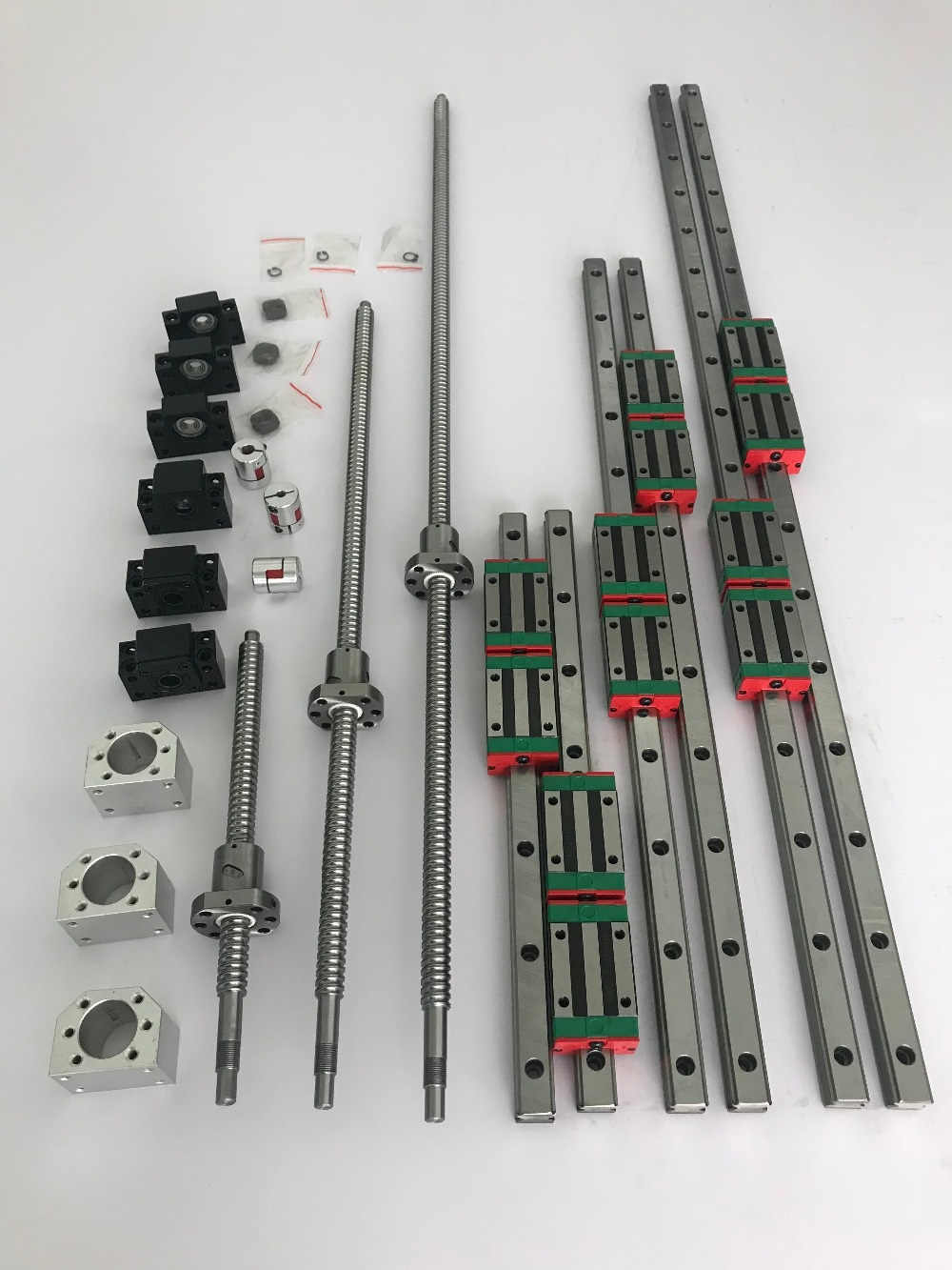 6set HGR20- 400/1000/1600mm Linear guide rail + SFU1605- 450/1050/1650mm ballscrew + BK12/BF12 + Nut housing CNC parts6set HGR20- 400/1000/1600mm Linear guide rail + SFU1605- 450/1050/1650mm ballscrew + BK12/BF12 + Nut housing CNC parts