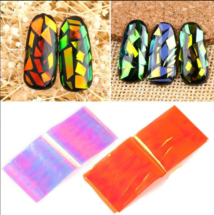 10cm explosion models Symphony irregular broken glass nail stickers nail Aurora platinum paper mirror glass paper