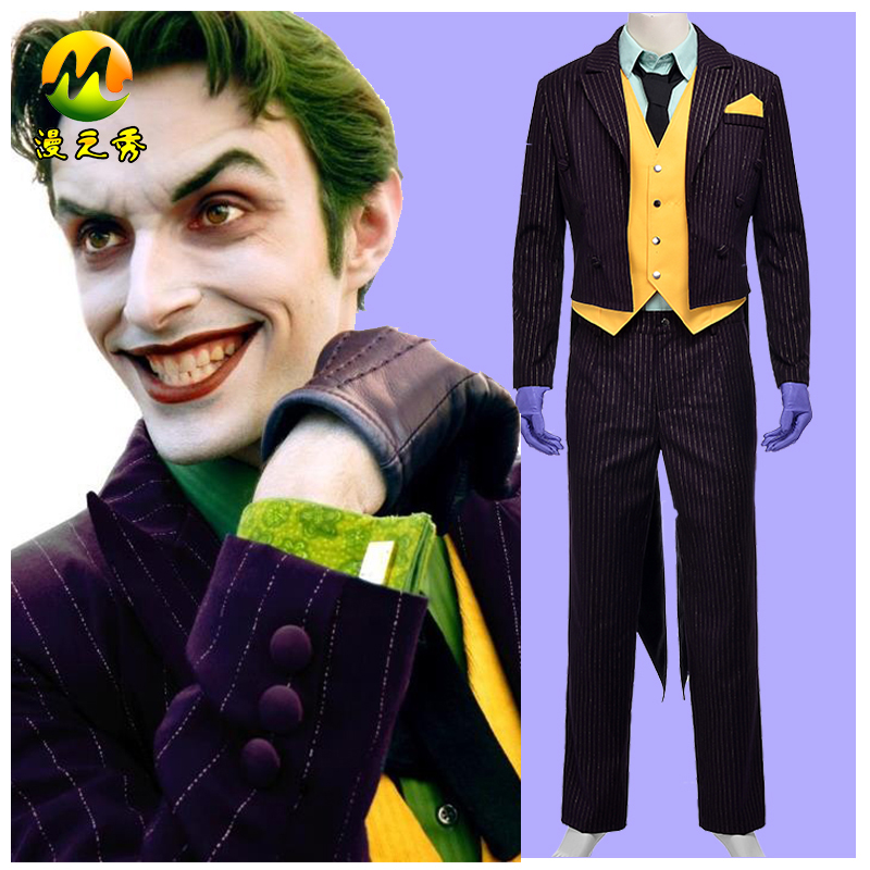 Top Quality Batman Arkham City Joker Cosplay Costume Batman Joker Costume Clown Suit For Halloween Party Men Dress Full Set