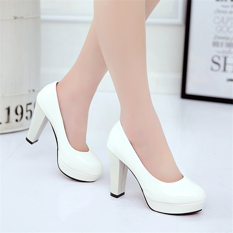 2019 New Women Pumps Black High heels 7.5cm Lady Patent leather Thick with Autumn Pointed Single Shoes Female Sandals Big 33-43