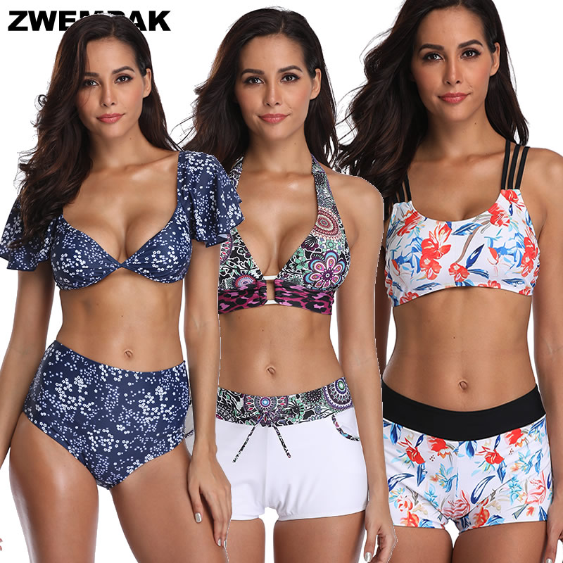 Retro Short Sleeve Women Bikini Set Vintage High Waisted 2019 Swimsuit Bra Padded Sporty Swim Wear Bathing Suits Femme Biquini