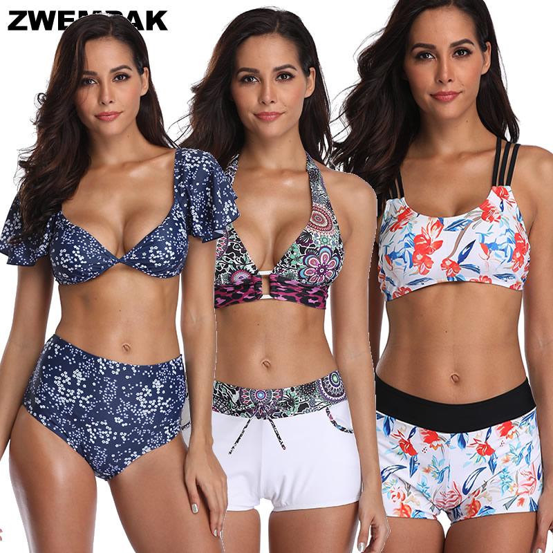 Retro Short Sleeve Women Bikini Set Vintage High Waisted 2019 Swimsuit Bra Padded Sporty Swim Wear Bathing Suits Femme Biquini