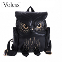 New Women Cartoon Owl Leather Backpack Preppy Style Mochila Sac A Dos Small Female Kanken Bag
