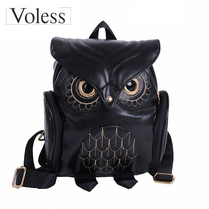New Women Cartoon Owl Leather Backpack Preppy Style Mochila Sac A Dos Small Female Kanken Bag For Teenage Girls Snoep Zakje Dier vintage cute owl backpack women cartoon school bags for teenage girls canvas women backpack brands design travel bag mochila sac