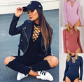 2017 spring women's High Collar bondage solid slim bodysuit Casual Slim Rompers ladiesTops Sexy Hollow Out Skinny Jumpsuit
