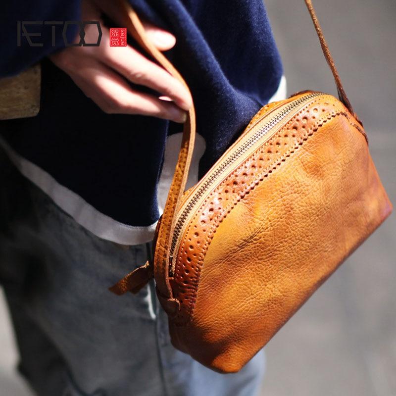 AETOO 2017 new leather bag Xiekua package art Mori Leather Shoulder Bag retro minimalist small shells