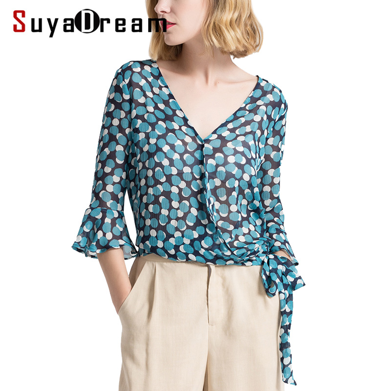 Women Blouse 100%Real silk Dots Printed Butterfly sleeved Fashion Transparent Blouses 2018 Spring Summer New Top shirt Blue kiind of new blue women s xl geometric printed sheer cropped blouse $49 016