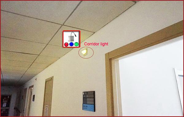 corridor lights installed on the top of the door
