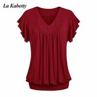 LA KABETTY Women S Shirt Plus Size Loose V Neck Short Sleeve Solid Color Tops Ladies