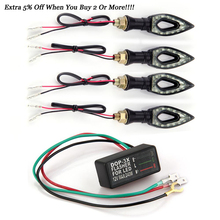 Carchet 4 шт. мотоциклетные Янтарь 12 LED поворотов свет лампы + Flasher огни 12 В 1 Вт индикатор шоры вспышки велосипед лампы