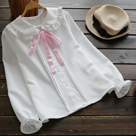 Women's Clothing Japanese School Uniform Mori Girls Summer Japanese Style Short Sleeve Turndown Collar Blue White Pink Striped Bowknot Blouse