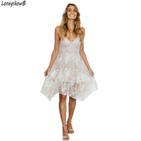 Loneyshow Women Dress Summer Sleeveless Casual Dress Women Vintage Vestidos Spaghetti Strap Elegant Lady Party Dresses