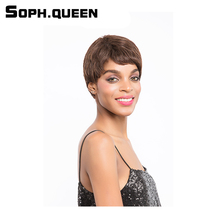 Soph queen Hair Unprocessed Remy Human Hair Wig Brazilian Straight Hair Wig #2/4 Color Short Hair Wig 2.75Inch