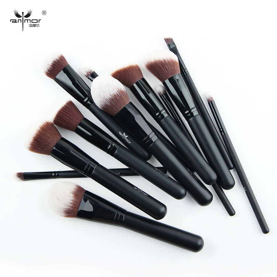 New 12 Pieces Full Size Beautiful Makeup Brush Set Professional Synthetic Soft High Quality Brand Makeup Brushes Black soft synthetic makeup brushes set 12 pieces makeup tools kit pink with case