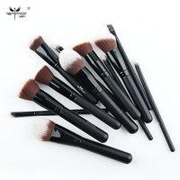 Travel Brush Set 12 PCS Makeup Brush Set Black Make Up Brushes Professional Makeup Brushes