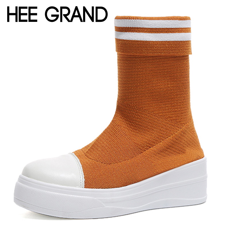 HEE GRAND Women Winter Ankle Boots Solid Platform Wedges Shoes Slip On Stretch Fabric Ankle Boots Warm Shoes Woman XWX6844 цена 2017