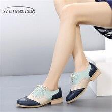 Zapatos oxford de cuero genuino para mujer, zapatos planos para mujer, mocasines de encaje retro vintage hechos a mano, zapatillas casuales marrones, zapatos planos para mujer