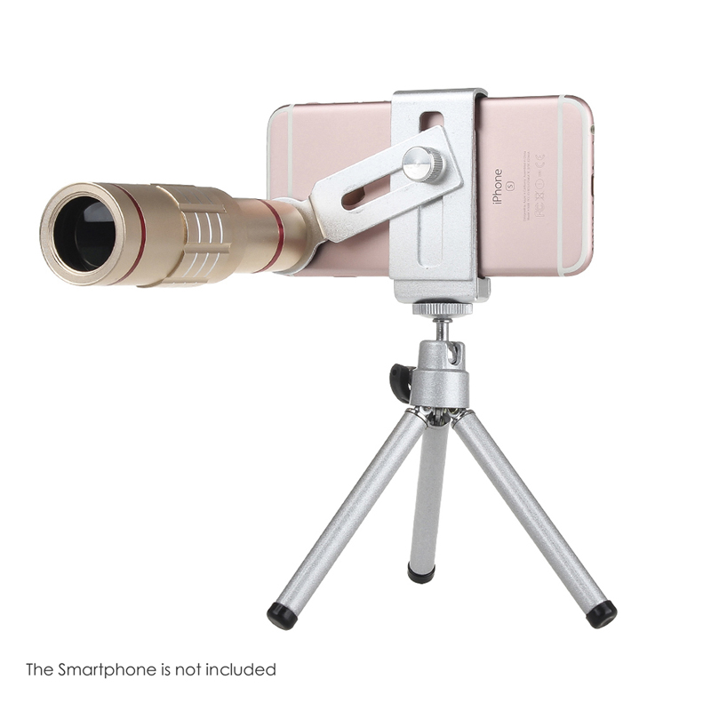Universal 18x zoom lens Magnification Optical Camera Telephoto Lens Telescope With mini Tripod For Iphone Smartphone Gold 5