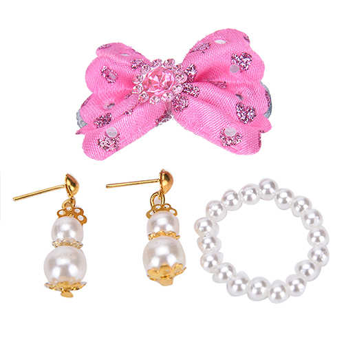 1 Set Plastic Jewelry Pearl Necklace Earrings for Barbie Dolls Kids Best DIY Birthday Gift