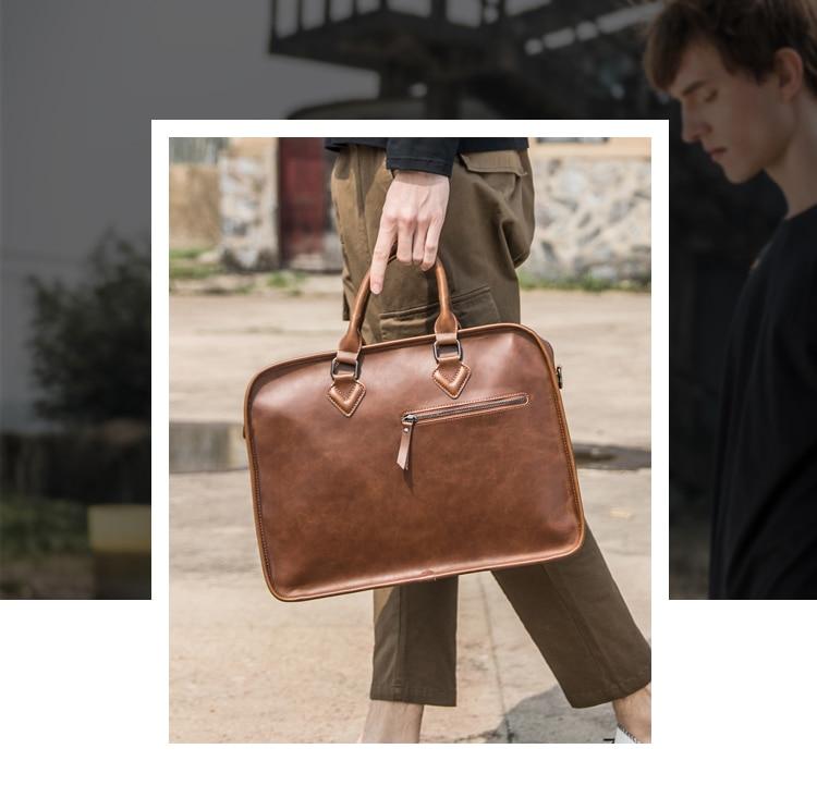 HTB1P Kcv JYBeNjy1zeq6yhzVXap Brand Crazy Horse PU Leather Men Briefcase Vintage 13 inch Big Business Laptop Handbag Fashion Brown Messenger Shoulder Bag Man