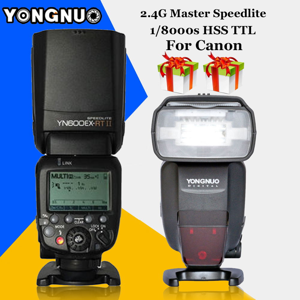 For Canon 5D3 5D2 7D Mark II 6D DSLR Cameras Wireless TTL HSS Light YONGNUO YN600EX-RT II Flash Speedlite+YN-E3-RT Controller yongnuo yn600ex rt ii 2 4g wireless hss 1 8000s master ttl flash speedlite or yn e3 rt controller for canon 5d3 5d2 7d 6d 70d
