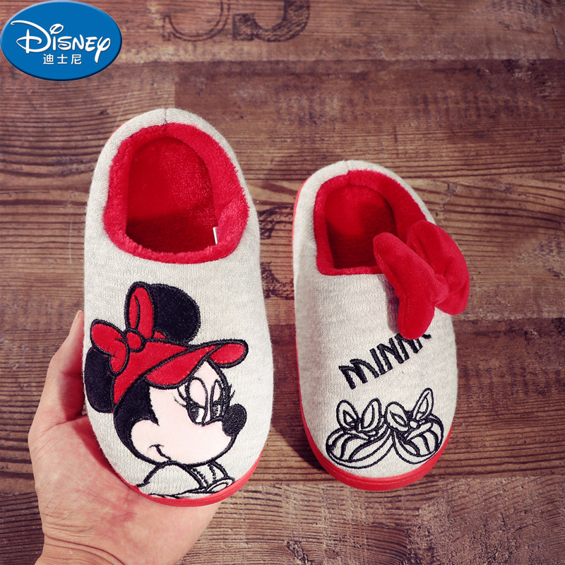 Disney Children Soft Cotton Slippers Winter Baby Non-slip Warm Shoes Boys Indoor Home Shoes Cotton Shoes