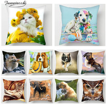 Fuwatacchi 3D Cute Animal Print Throw pillow Cover Polyester Stylish Dog Cat Eagle Sofa Bedroom Home Decor Accessory Pillow Case цены