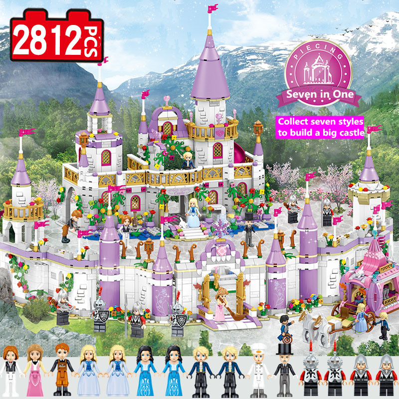 Fairy Tale movie diy toys funny Princess Castle Compatible Legoe Friends City Castle Model Building Blocks Girl Toys