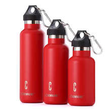 LC outdoor 12oz/16oz/20oz stainless steel water bottle sports vacuum insulated flask standard mouth with carabiner lid