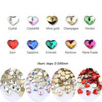Hot heart-shaped nail art rhinestones 11 colors exquisite crystal stone size two styles 30pcs / 100Pcs for 3D nail decoration