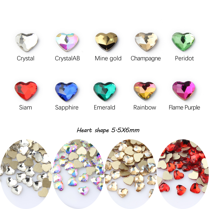 Горячее предложение Стразы в форме сердца 11 цветов изысканный Кристальный камень размер два стиля 30 шт./100 шт. для 3D украшения ногтей