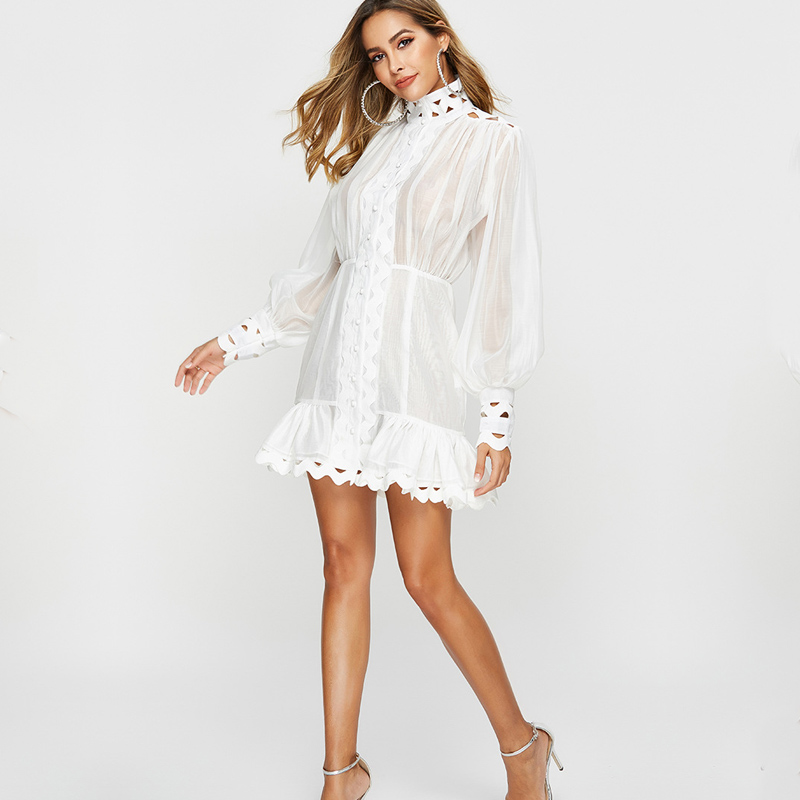 2019 New Fashion Woman Mini Dress High Waist Puff Sleeve Perspective Hollow Out Cutout Short Boutique
