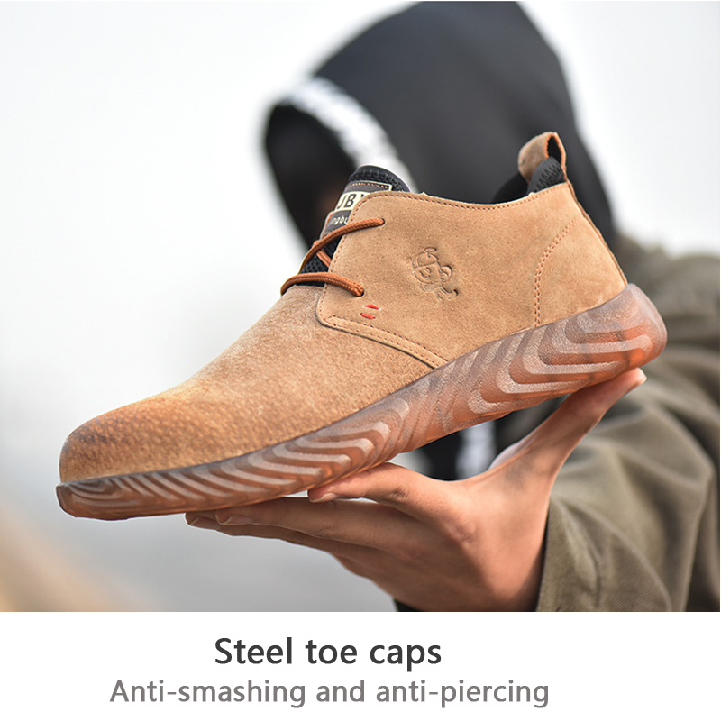Fashion Men's Steel Toe Safety Shoes Bulletproof Material Soles Lightweight Insulation Site Welder Work Safety Boot