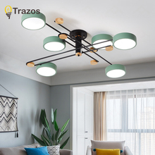 TRAZOS 220V LED Chandeliers With Acrylic Lampshade For Bedroom Wooden Round Ceiling wooden Rooms Lighting Fixtures