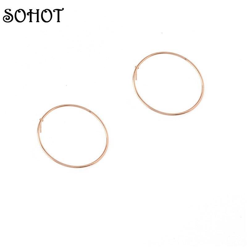 162b5eb6cb3d Sohot redondo grande Pendientes broche de oro plata color moda Accesorios  para las mujeres