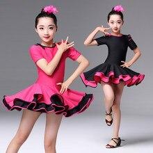 9a4fb8f65df2c 2018 Spandex niñas vestidos para el baile de salón de baile rumba samba  niños samba cha tango falda estándar salsa