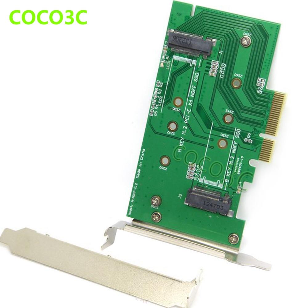 2-ը 1-ով PCI-e 4x-M ստեղնով NGFF SSD քարտ SAMSUNG 950 PRO M.2 SSD աշխատասեղանի SATA 3.0-ից B Key M.2 SATA միջերես SSD ադապտեր